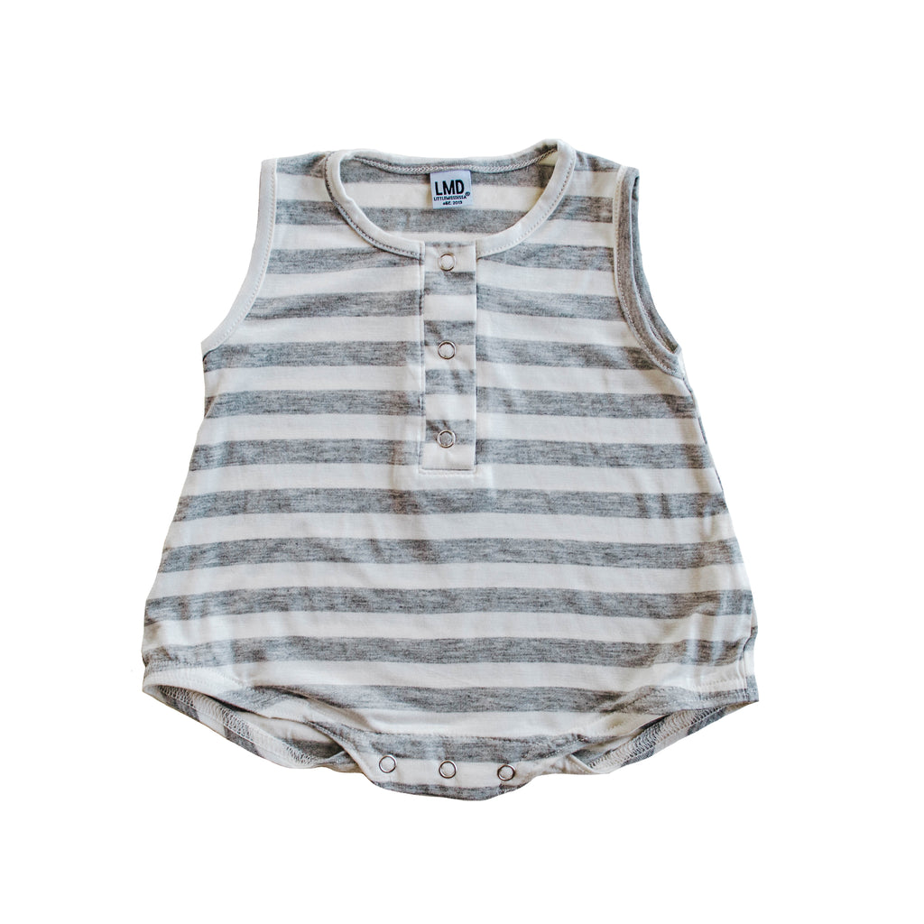Cozy Romper | Ivory & Heather Grey Stripe