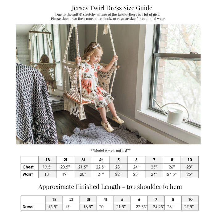 Sizing chart - Jersey Twirl Dress