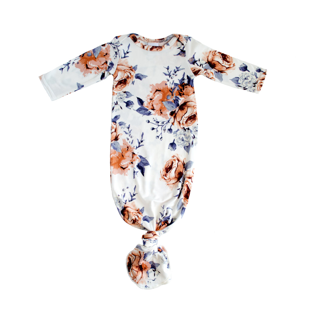 Little Nursling™ Snuggle Knotted Baby Gown | Sweet Periwinkle Floral