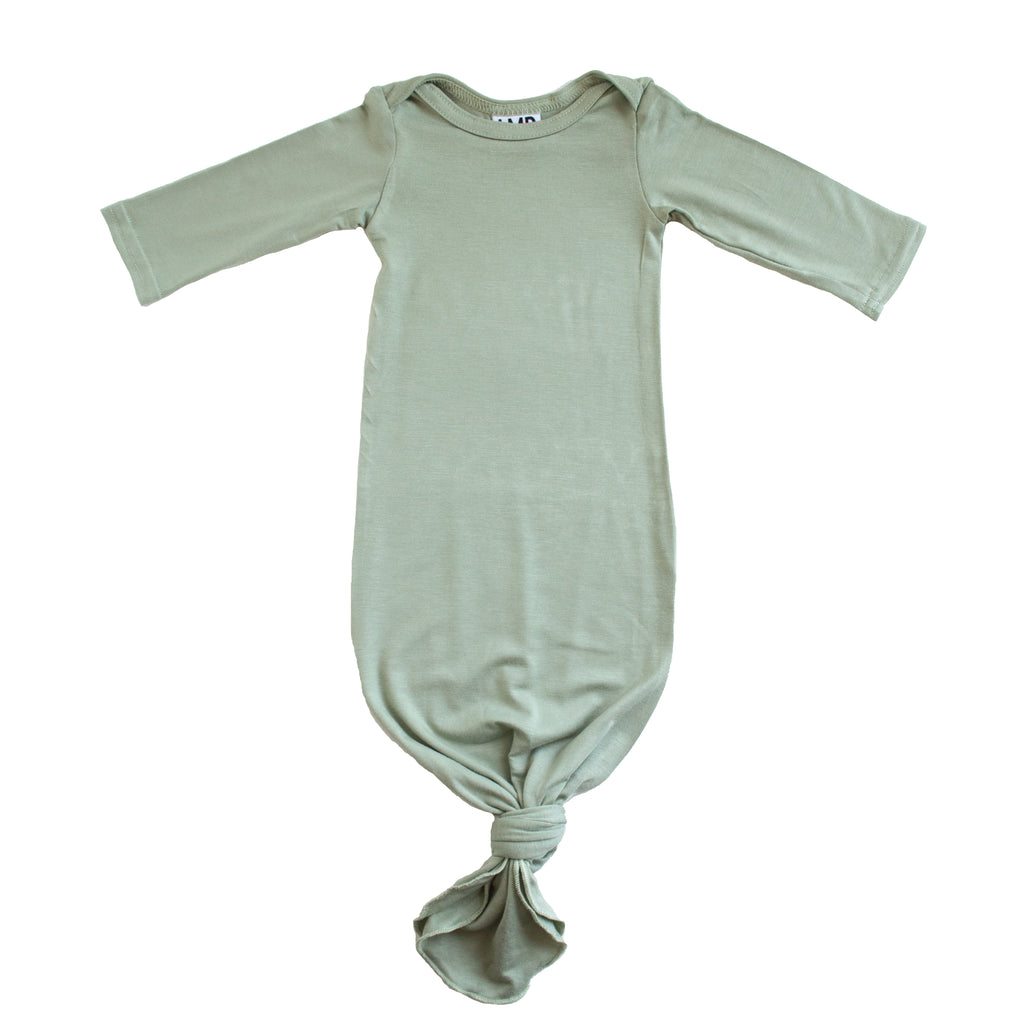 Little Nursling® Snuggle Knotted Baby Gown | Sage Green