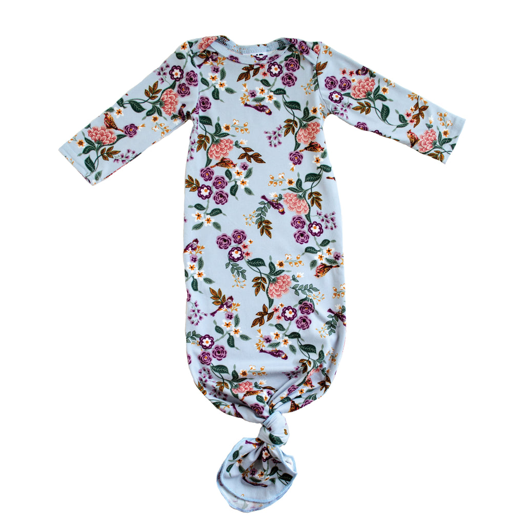 Little Nursling™ Snuggle Knotted Baby Gown | Secret Garden