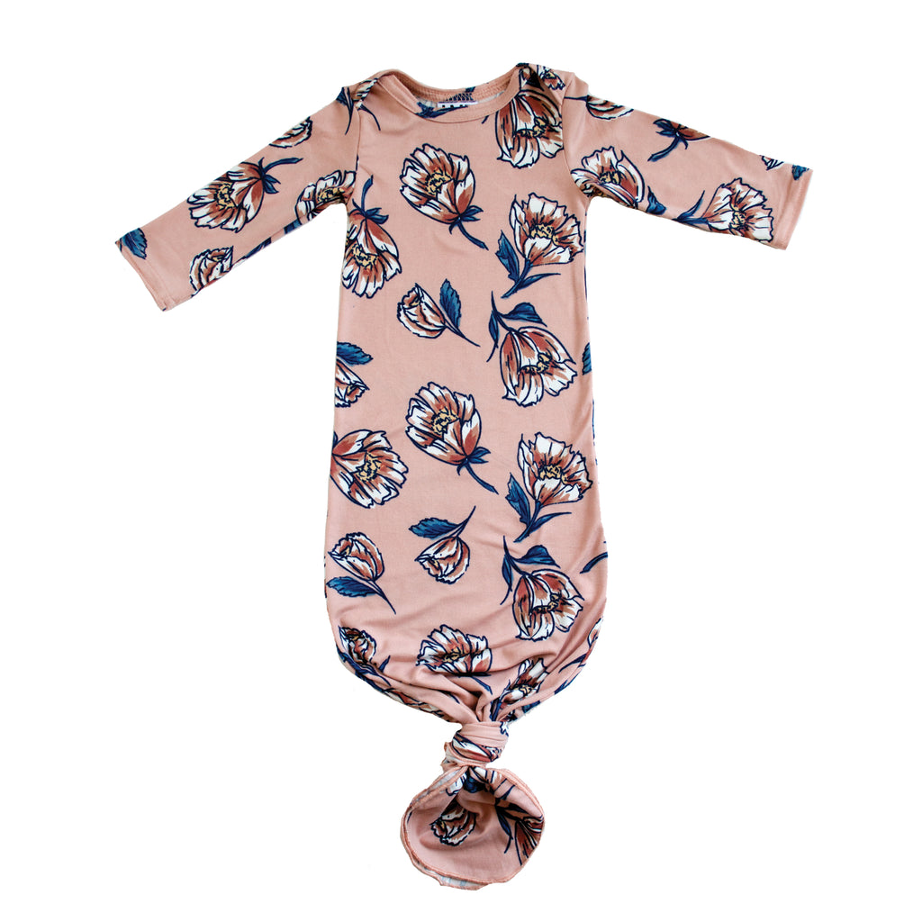 Little Nursling™ Snuggle Knotted Baby Gown | Blush Poppy