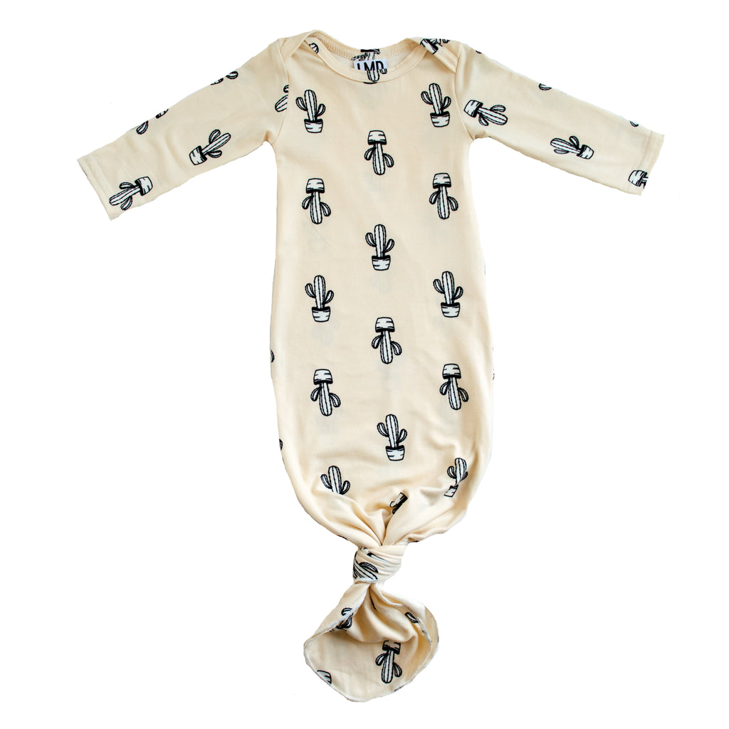 Little Nursling™ Snuggle Knotted Baby Gown | Cactus Cream