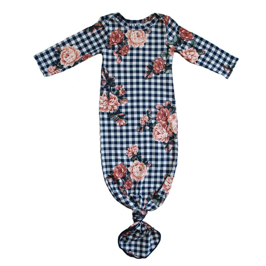 Little Nursling™ Snuggle Knotted Baby Gown | Checkered Navy Floral