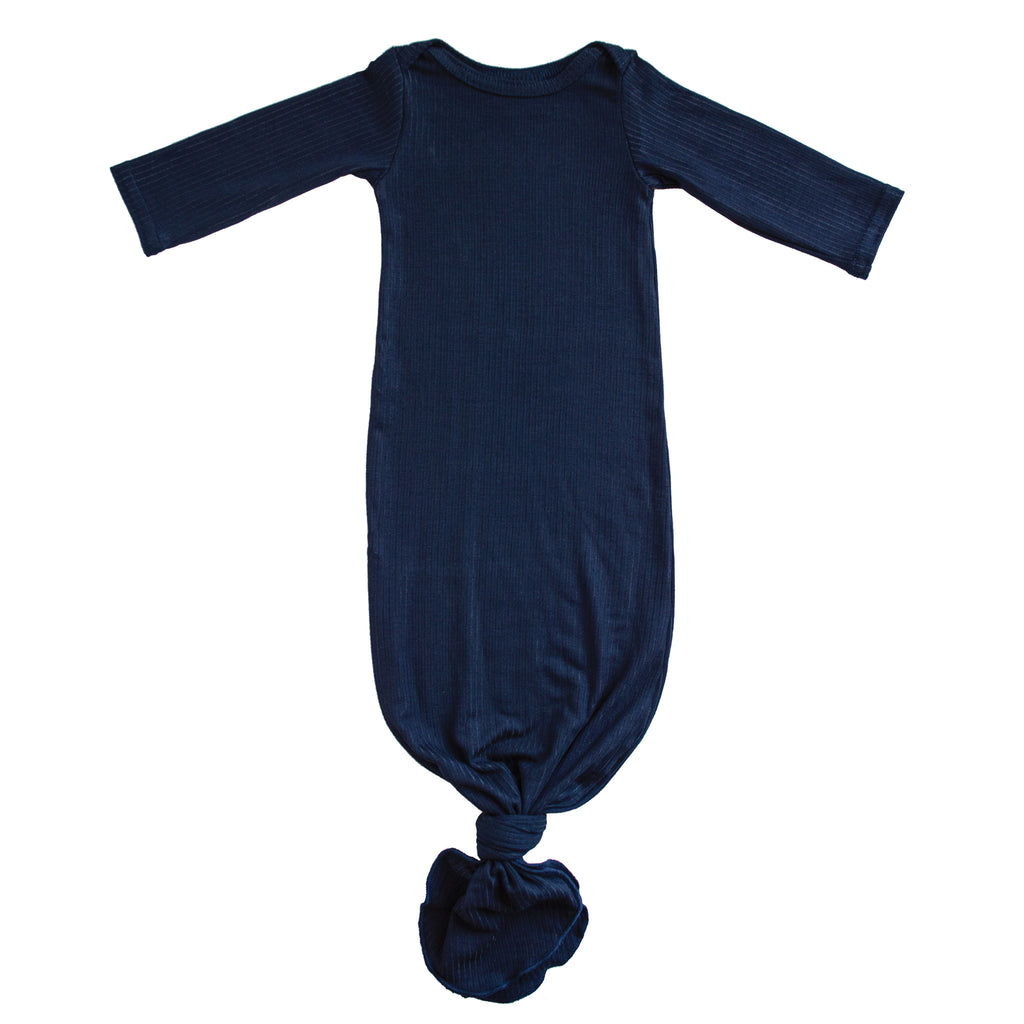 Little Nursling™ Snuggle Knotted Baby Gown | Navy Rib