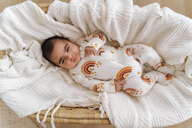 Cozy Zipper Footie Sleeper | Love & Light Rainbow - LITTLEMISSDESSA