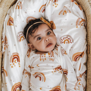 Knit Jersey Swaddle Baby Blanket | Love & Light Rainbow - LITTLEMISSDESSA