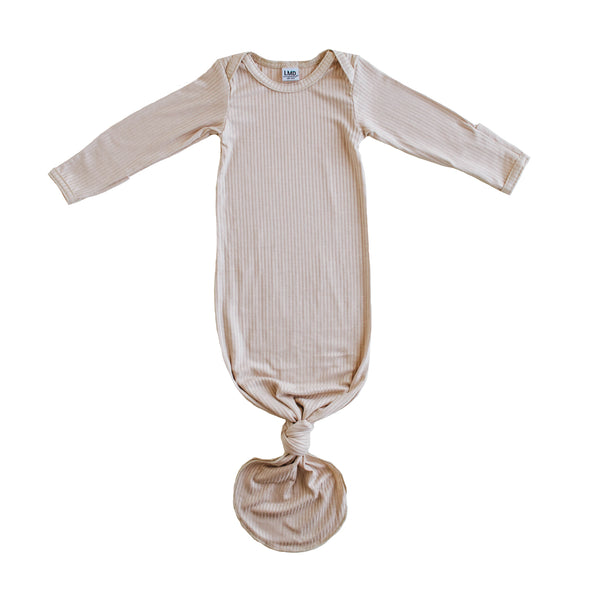 Little Nursling® Snuggle Knotted Baby Gown | Latte Rib