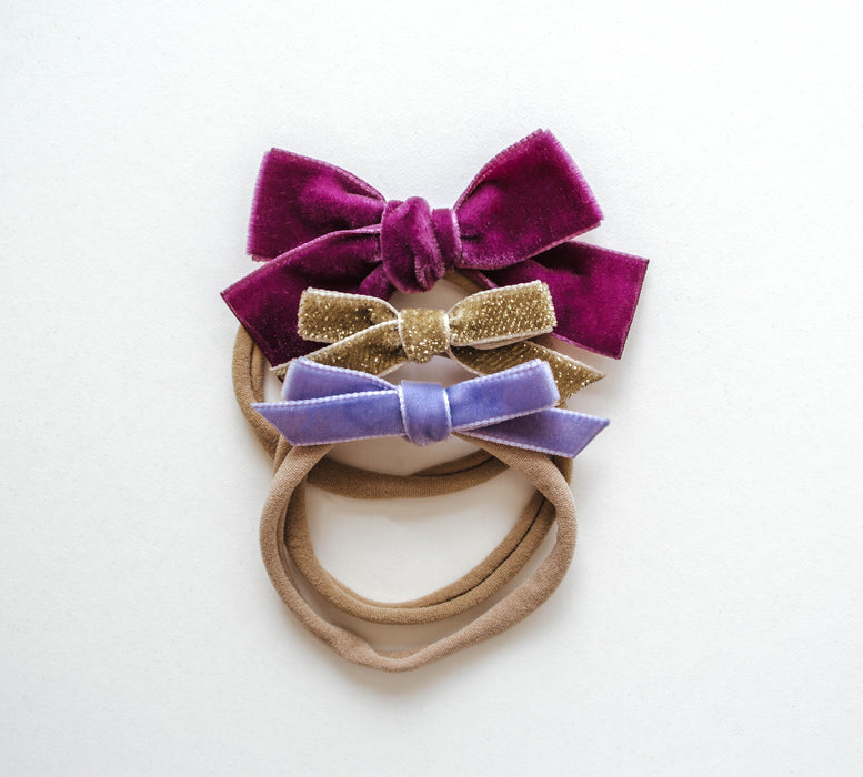 Dainty Bow Headband Set | Magenta Pixie - LITTLEMISSDESSA
