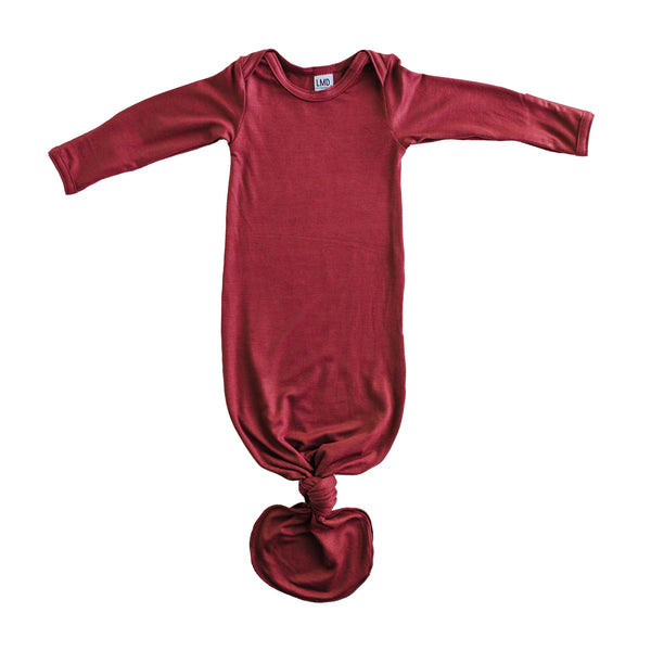 Little Nursling® Snuggle Knotted Baby Gown | Marsala