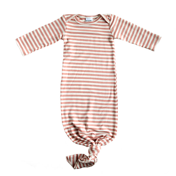Little Nursling™ Snuggle Knotted Baby Gown | Mauve & Ivory Stripe