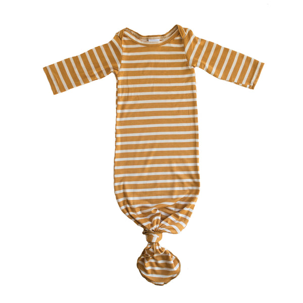 Little Nursling™ Snuggle Knotted Baby Gown | Mustard & Ivory Stripe
