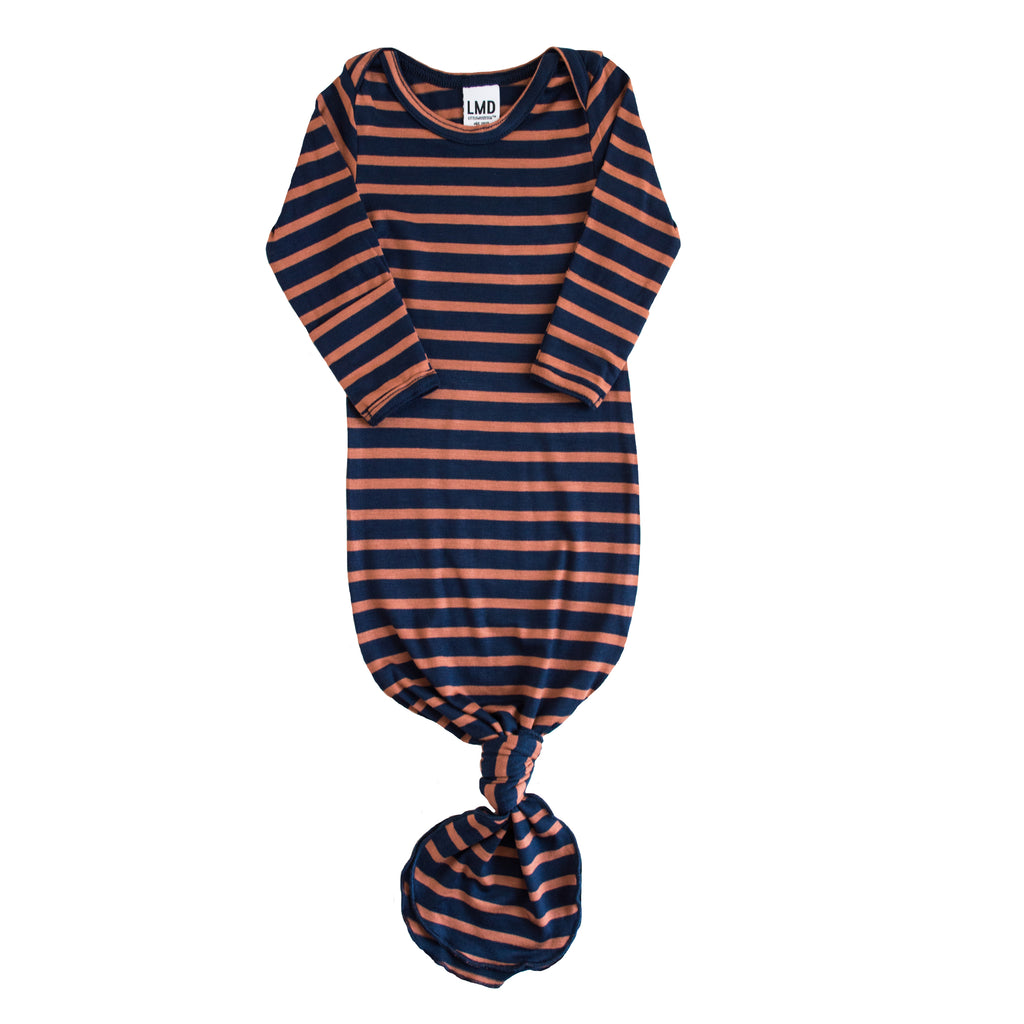 Little Nursling® Snuggle Knotted Baby Gown | Navy & Hazelnut Stripe Jersey