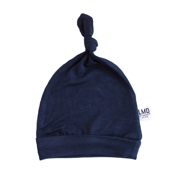 Newborn Baby Knotted Hat | Navy Jersey