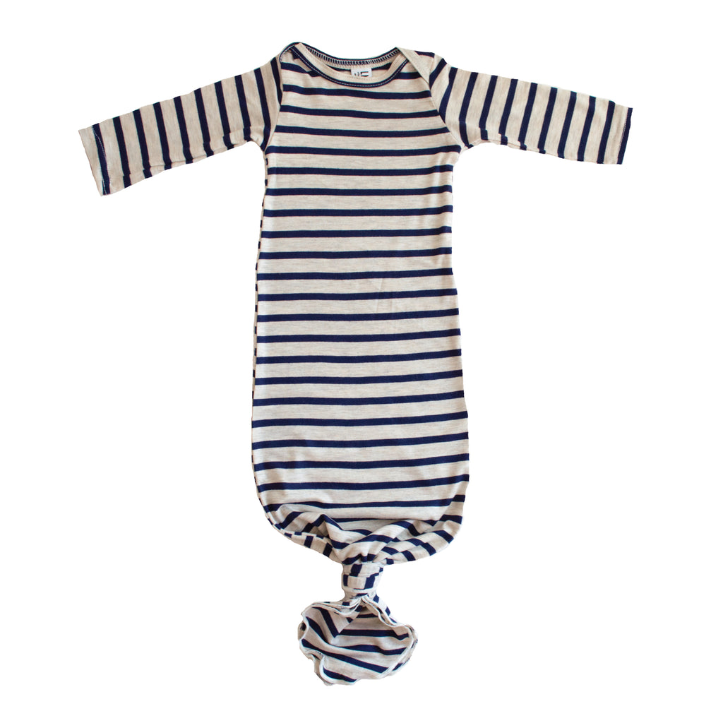 Little Nursling™ Snuggle Knotted Baby Gown | Navy & Oatmeal Stripe
