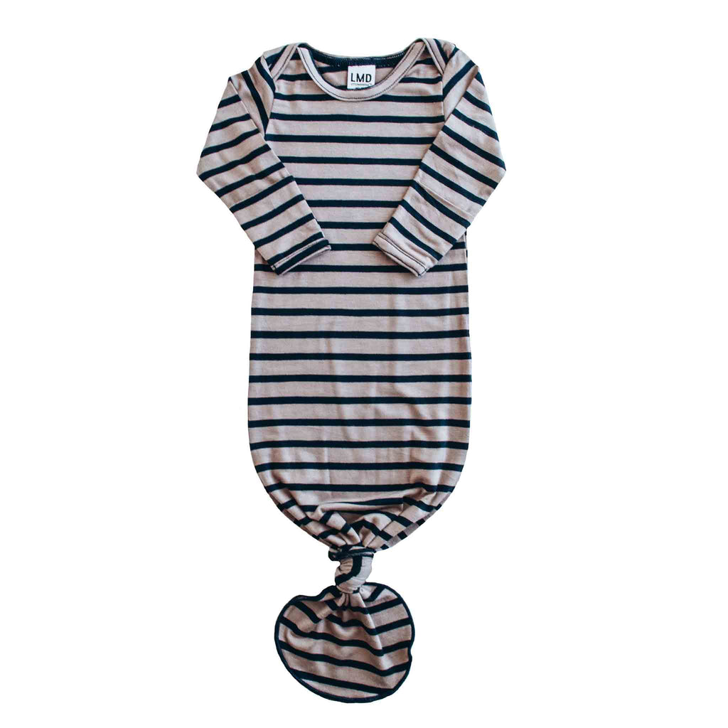 Little Nursling® Snuggle Knotted Baby Gown | Navy & Taupe Stripe