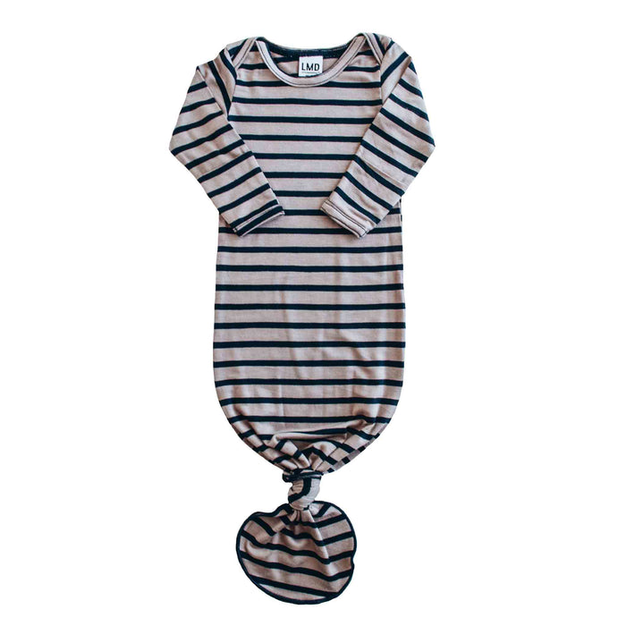 Knotted Gown | Navy & Taupe Stripe
