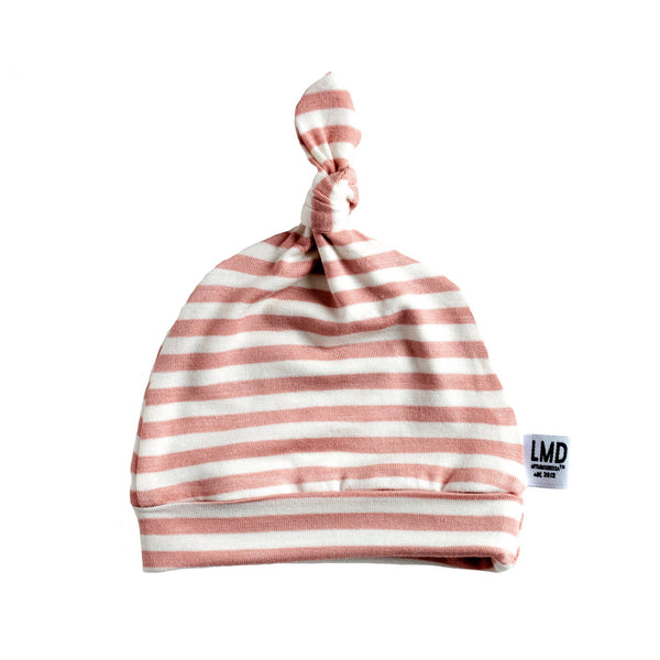 Newborn Baby Knotted Hat in Mauve Pink & Ivory Stripe from LITTLEMISSDESSA