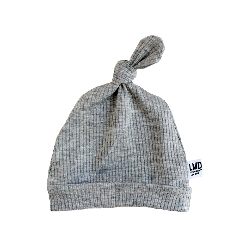 Newborn Baby Knotted Hat | Heather Grey Rib