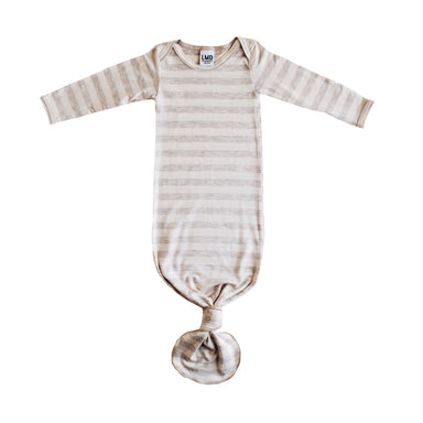 Little Nursling® Snuggle Knotted Baby Gown | Oatmeal & Ivory Stripe