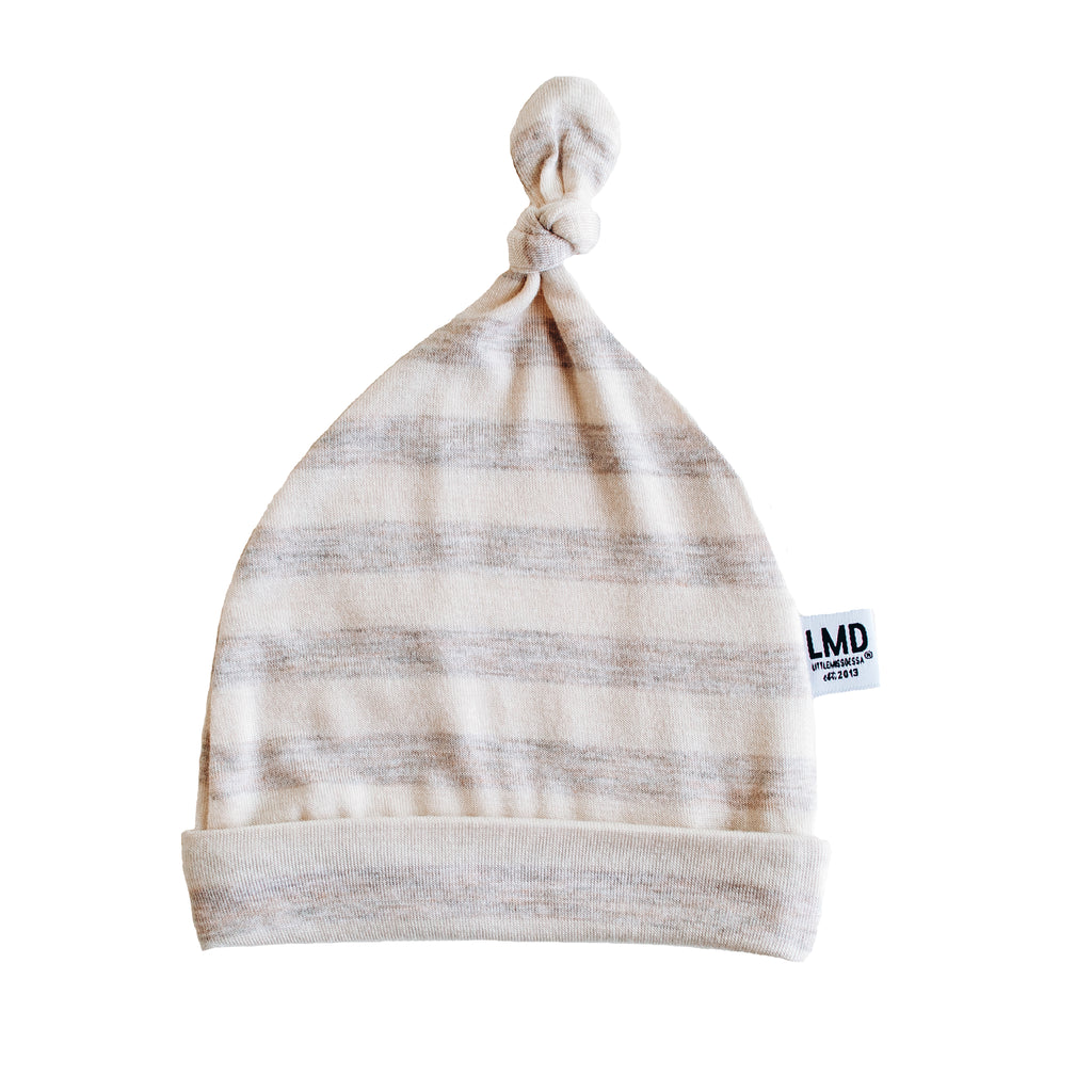 Newborn Baby Knotted Hat | Oatmeal & Ivory Stripe