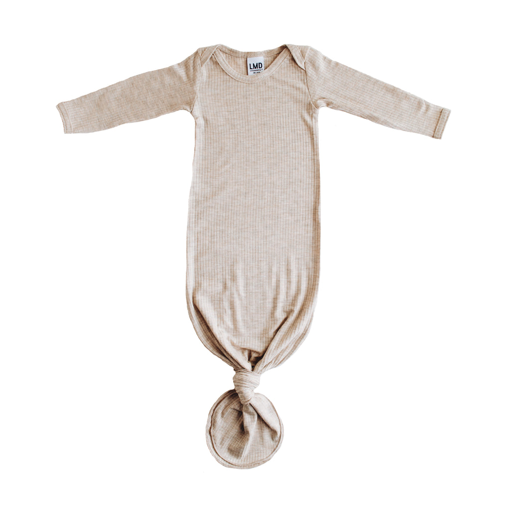 223ed7bb7 Snuggle Knotted Baby Gown | Ivory Rib Knit Jersey | Little Nursling ...
