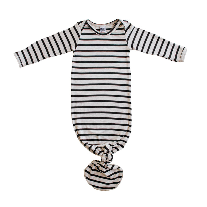 Knotted Gown | Oatmeal & Black Stripe