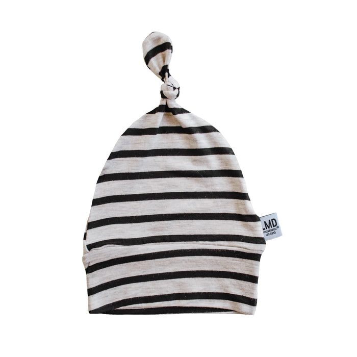 Newborn Baby Knotted Hat | Oatmeal & Black Stripe