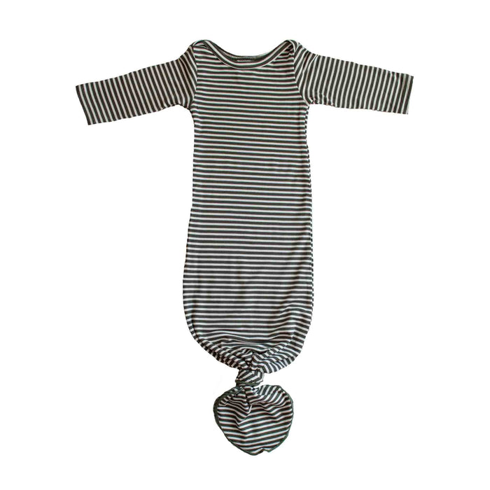 Knotted Gown | Olive Green & Ivory Micro Stripe