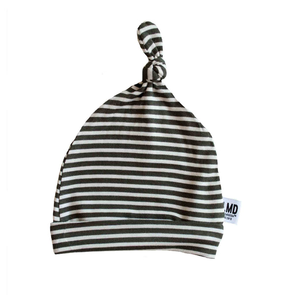 Newborn Baby Knotted Hat | Olive Green & Ivory Micro Stripe