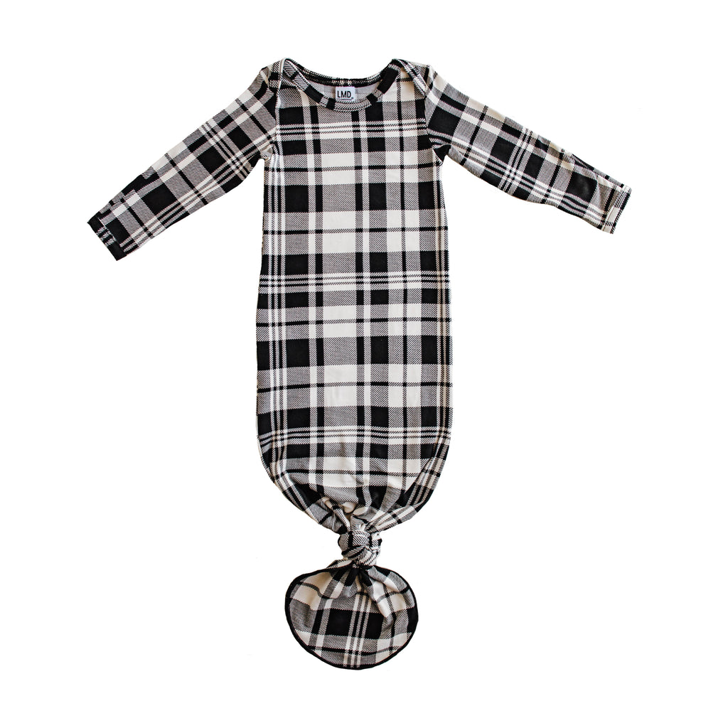 Little Nursling® Snuggle Knotted Baby Gown | Onyx Plaid