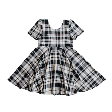 The Jersey Twirl Dress | Onyx Plaid - LITTLEMISSDESSA