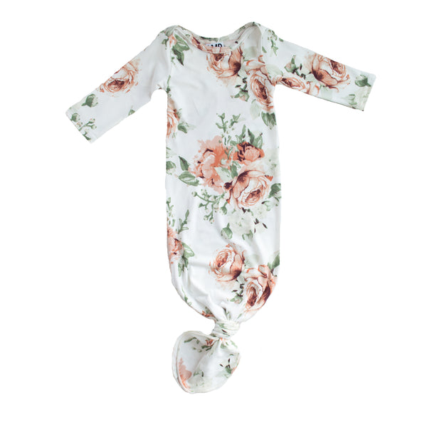 Floral Knotted gown - peach peony print