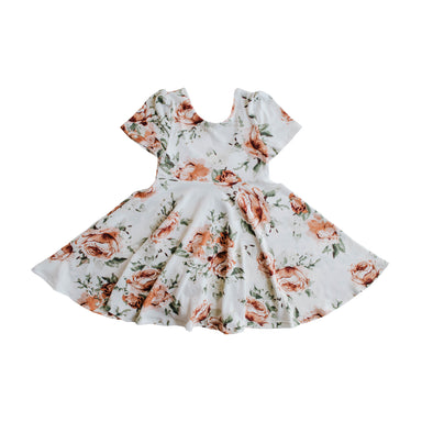 The Jersey Twirl Floral Dress | Peach Peony - LITTLEMISSDESSA