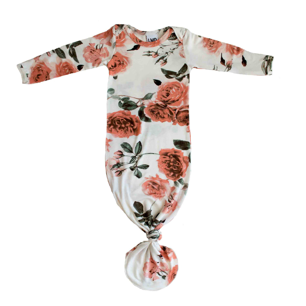 Little Nursling® Snuggle Knotted Baby Gown | Rose Garden