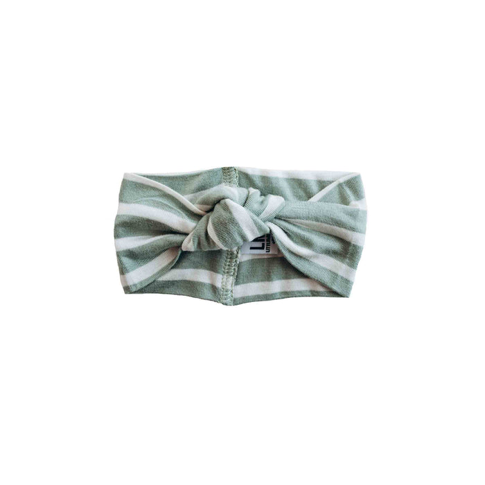 Top Knot Headband | Sage Ivory Stripe - LITTLEMISSDESSA