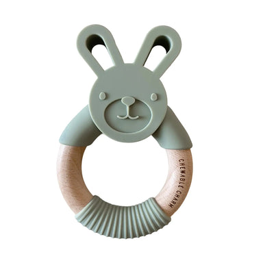 Bunny Silicone + Wood Teether - Sage - LITTLEMISSDESSA