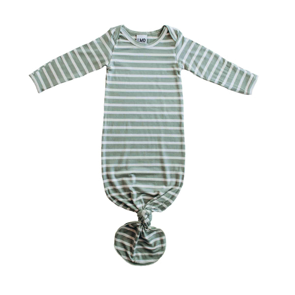 Little Nursling® Snuggle Knotted Baby Gown | Sage & Ivory Stripe Jersey