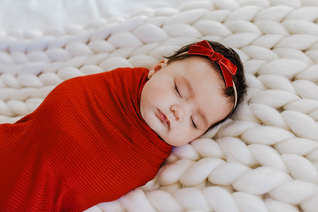 Little Nursling™ Knit Jersey Swaddle Baby Blanket | Scarlet Rib - LITTLEMISSDESSA