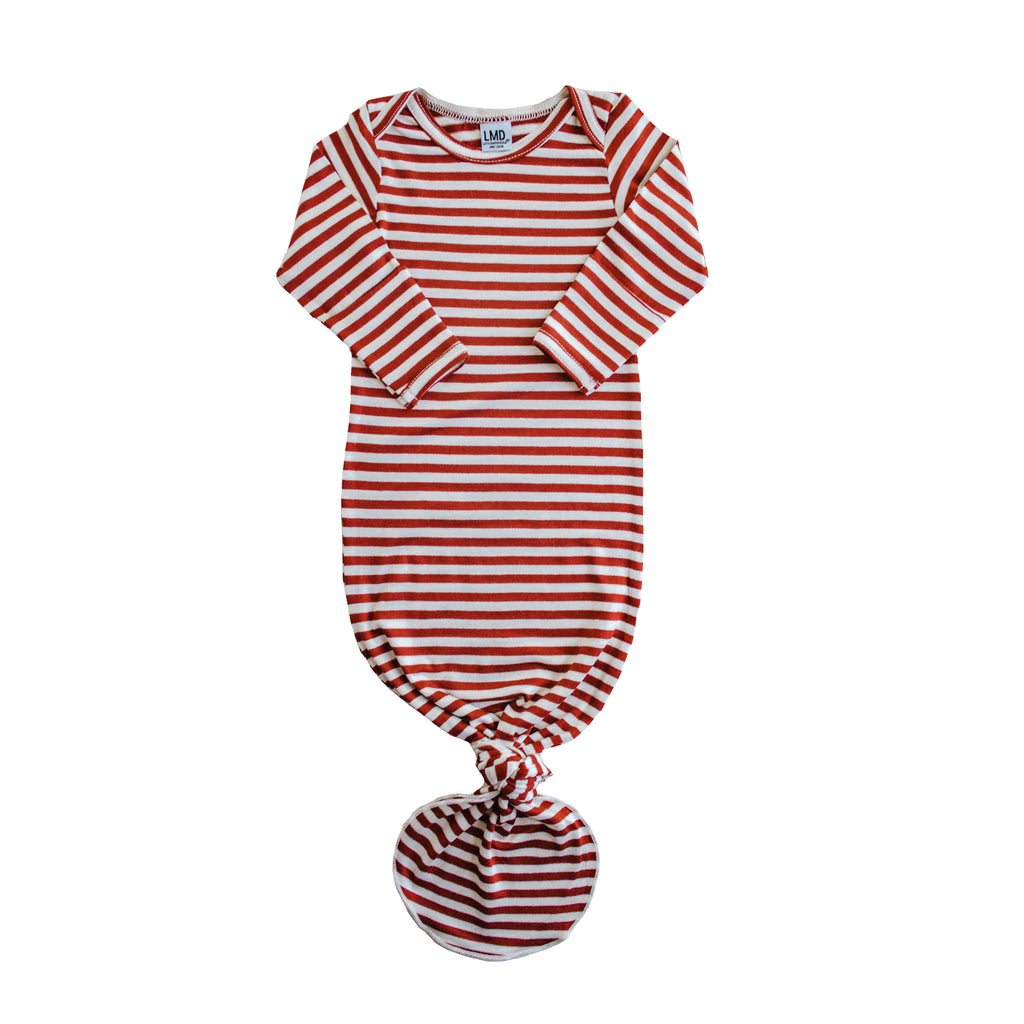 Little Nursling® Snuggle Knotted Baby Gown | Scarlet & Ivory Stripe