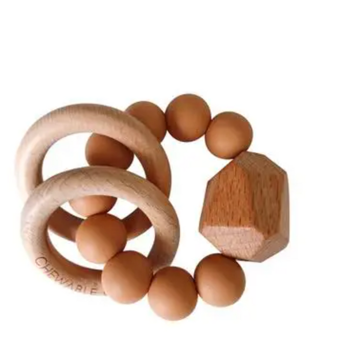 Hayes Silicone + Wood Teether Ring - Terra Cotta - LITTLEMISSDESSA