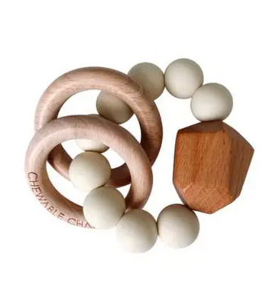 Hayes Silicone + Wood Teether Ring - Cream - LITTLEMISSDESSA