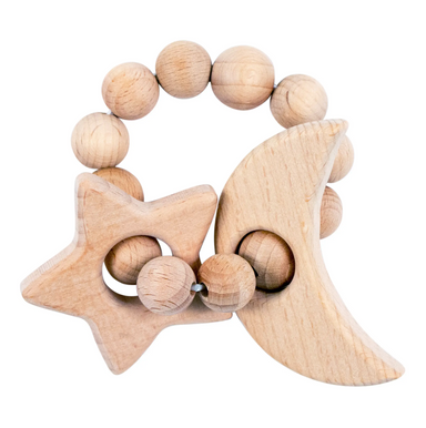 Moon & Star Natural Wooden Teether - LITTLEMISSDESSA