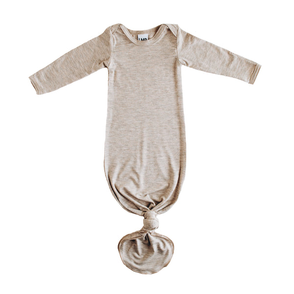 Little Nursling™ Snuggle Knotted Baby Gown | Sweet Flax Oatmeal