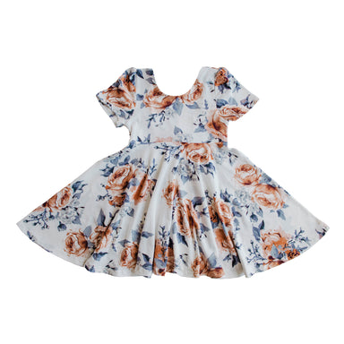 The Jersey Twirl Floral Dress | Sweet Periwinkle - LITTLEMISSDESSA