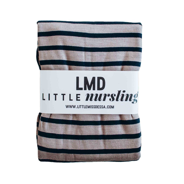 Little Nursling™ Knit Jersey Swaddle Baby Blanket | Taupe & Navy Stripe