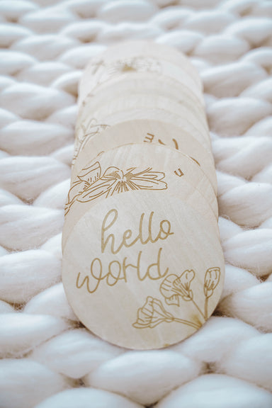 Hello World Wild Flower Monthly Milestone Disc Set - LITTLEMISSDESSA