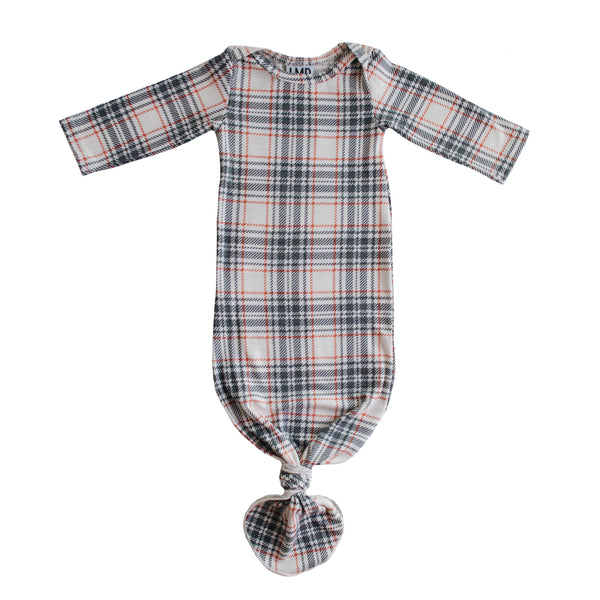 Little Nursling™ Snuggle Knotted Baby Gown | Winter Plaid