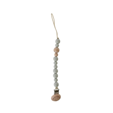 Crew Pacifier Clip - Wood + Grey - LITTLEMISSDESSA
