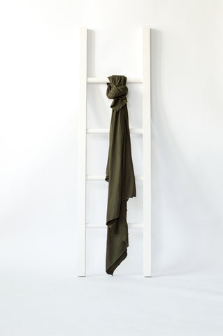 Olive green rib knit design swaddle baby blankets